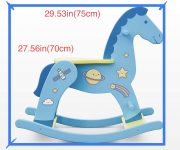 """the best gift for children – blue wooden rocking horse with fantasy decor """"Space"""""""
